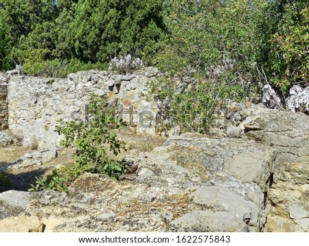 Ruins of the Roman baths-the thermae of the fortress of Charax (I century ad), on the southern spur of the Cape AI-Todor. Thermae in Charax is a relatively small building, 25 m long and 15 m wide. Photo stock ©