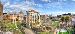 Ruins of the Roman Forum at Palatino hill in Roma, Italy