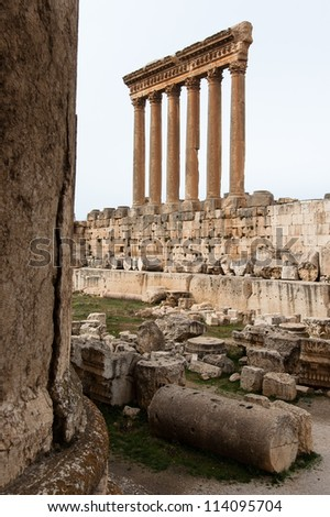 Ruins of the roman Temple of Jupiter in Baalbek Lebanon