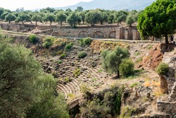 Ruins of the stadium in Nysa ancient city in Aydin province of Turkey. Nysa on the Meander belonged to Caria.