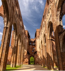 Ruins of the Tartu Cathedral (Dorpat Cathedral), a former Catholic church in Tartu (Dorpat), Estonia. The building is now an imposing ruin overlooking the lower town.