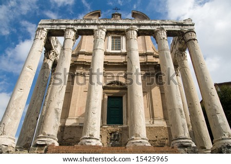 Ruins of the Temple of Antonius and Faustina on the Rome Forum