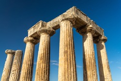 Ruins of the Temple of Apollo in Ancient Corinth, Peloponnese, Greece. For Christians, Corinth is well known from the two letters of Saint Paul in the New Testament.
