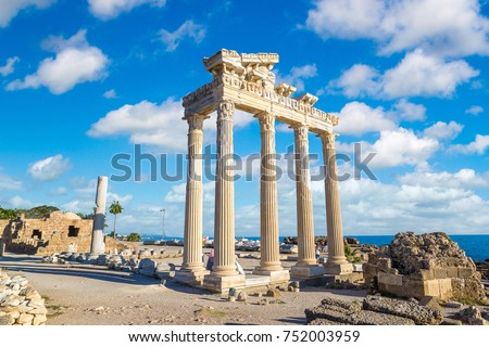 Ruins of the Temple of Apollo in Side in a beautiful summer day, Antalya, Turkey