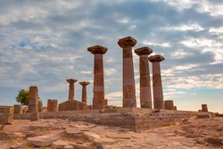 Ruins of the Temple of Athena at the ancient city of Assos, in Behramkale,