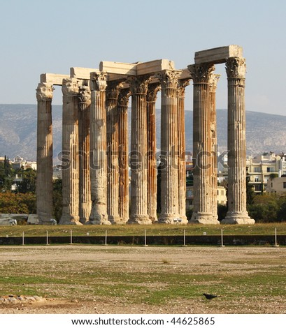 Ruins of the Temple of Olympian Zeus in Athens, Greece, with Corinthian columns.