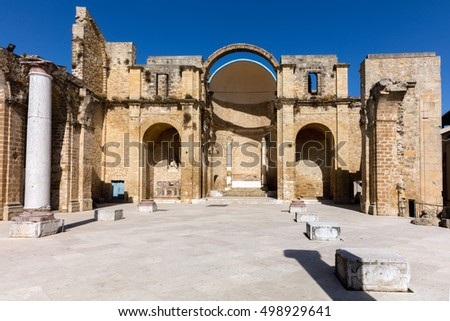 Ruins of the 18th century church destroyed by the earthquake in 1968 in Salemi, Sicily #498929641