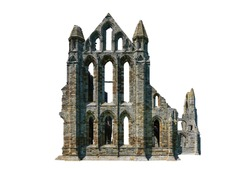 Ruins of Whitby Abbey (North Yorkshire, England) isolated on white background