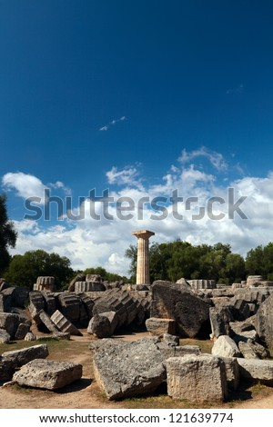 Ruins on ancient Olympia, Greece.