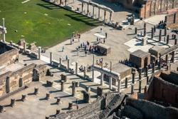 Ruins pompei, naples, italy, air view