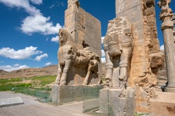 Ruins, statues and murals of ancient persian city of Persepolis in Iran. Most famous remnants of the ancient Persian empire.