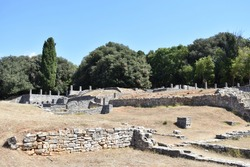 Ruins (walls and collumns) of ancient Roman villa in Brijuni (also known as Brioni) National Park (island in Adriatic sea, near Pula), Istria region, Croatia