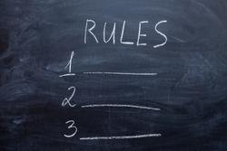 Rule list on blank chalkboard