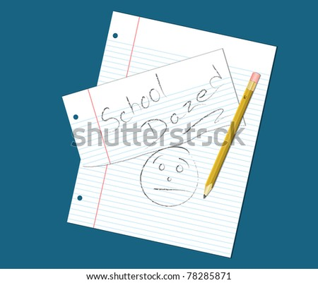 Ruled notebook paper and pencil with sketch of face wearing a dazed, overwhelmed expression