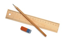Ruler, pencil and eraser isolated on white
