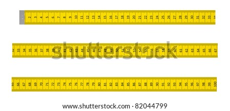 Ruler with a marking to one metre on a white background