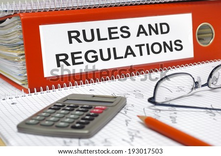 rules and regulations written on folder