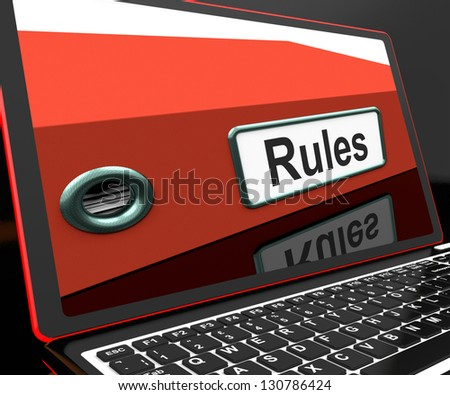 Rules File On Laptop Showing Policies Or Rules Guide