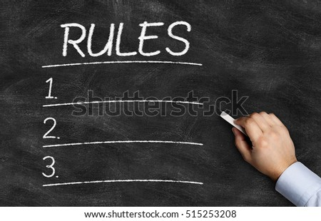 Rules List written on the blackboard with hand holding white chalk - Shutterstock ID 515253208