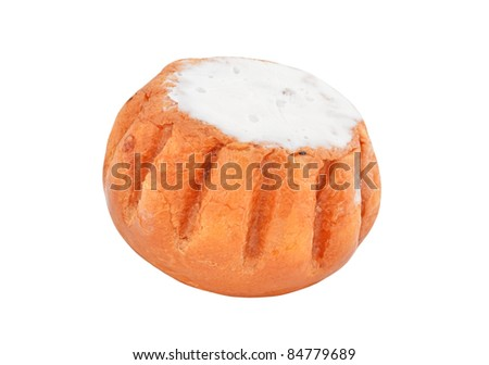 Rum baba cake, isolated on white background