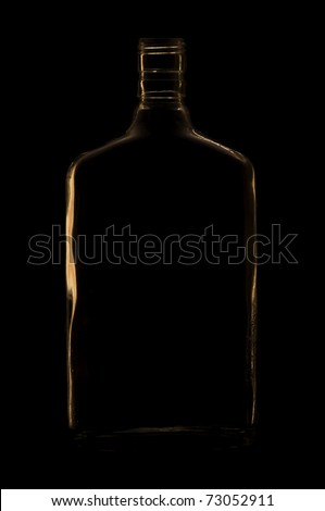 Rum bottle silhouette against black
