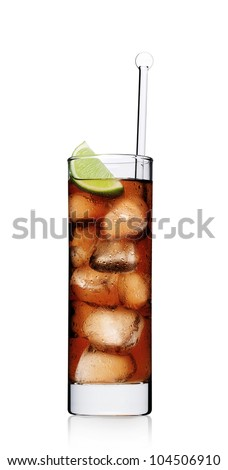 Rum cola with lime