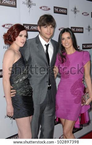 "Rumer Willis, Ashton Kutcher and Demi Moore  at ""The Joneses"" Los Angeles Premiere, ArcLight Cinemas, Hollywood, CA. 04-08-10"