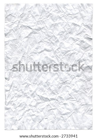 Rumpled paper sheet. Background and texture. On white.