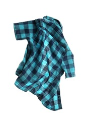 Rumpled plaid shirt isolated on white. Messy clothes