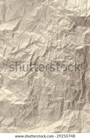 Rumpled wood paper on white background  and place for your text