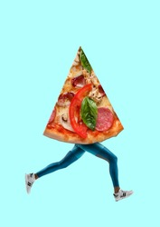 Run for burning. Legs running and pizza's slice as a body of human. Negative space to insert your text or image. Modern design. Contemporary art collage. Concept of sport or food, breakfest, lunch.