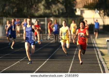 Run like the Wind in the High School Relay - stock photo