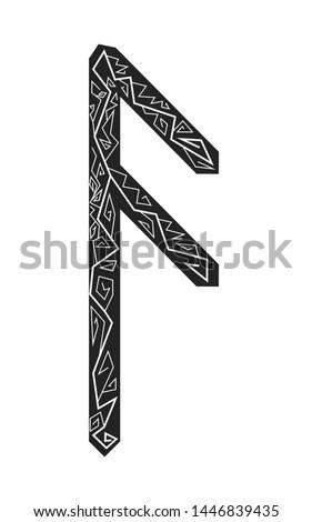 Rune Ansuz. Ancient Scandinavian runes. Runes senior futarka. Magic, ceremonies, religious symbols. Predictions and amulets.