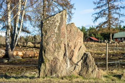 Rune stone. Old aged weathered granite gravestone in sunny rays. Ancient Big rock with runes patterns. Vikings Times. Old grave in the Scandinavian forest. Traditional Swedish Viking monuments.
