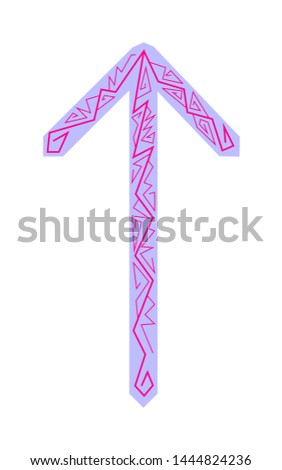 Rune Teiwaz. Ancient Scandinavian runes. Runes senior futarka. Magic, ceremonies, religious symbols. Predictions and amulets.