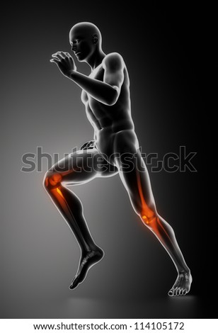 Runing man with highlighted knee bones