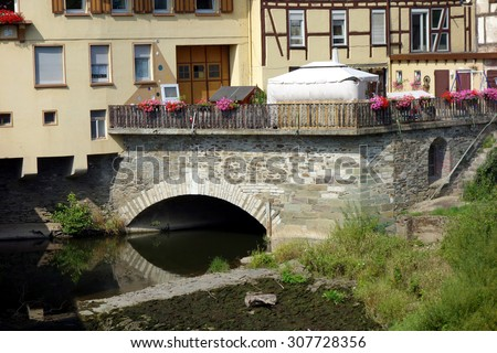 runkel at river lahn, west germany #307728356