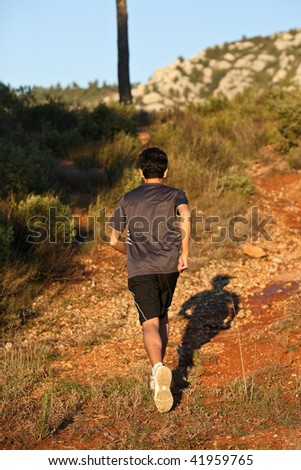 Runner moving through sunlit landscape