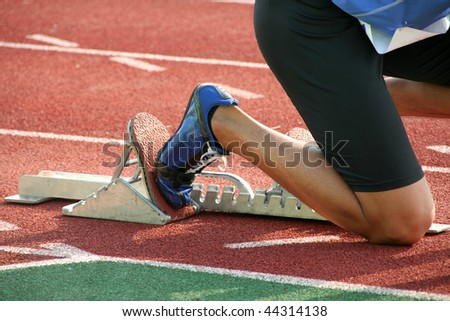 Runner on starting line