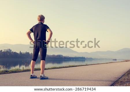 Runner on the start of distantion
