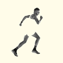 Runner, strong jogger. Young caucasian sportsman isolated on studio background, modern artwork. Healthy lifestyle, movement, action, motion, advertising and sports concept. Abstract trendy design.