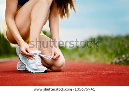 Runner trying running shoes getting ready for jogging ストックフォト ©