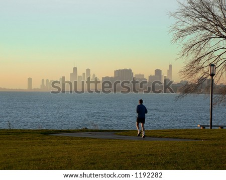 Runner with Chicago skyline