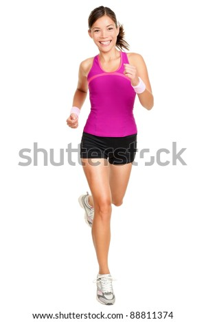 Runner woman isolated. Running fit fitness sport model jogging smiling happy isolated on white background. Beautiful mixed race Chinese Asian / white Caucasian fitness girl training. - stock photo