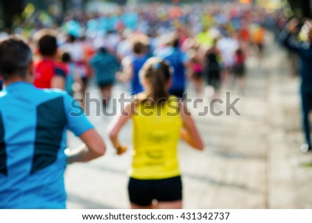 runners in marathon woman abstract, blurry #431342737
