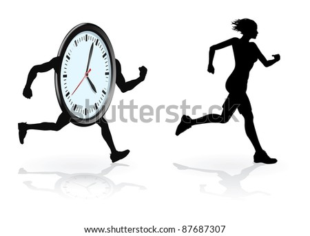 Running against the clock conceptual design. Woman trying to beat her best time or concept for being under time pressure.