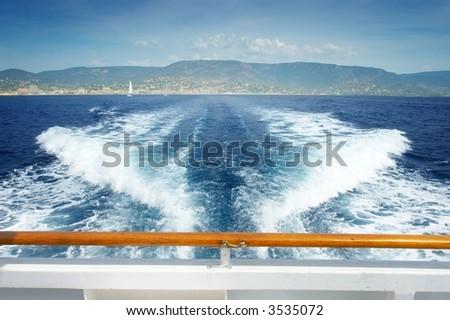Running away on the sea - stock photo