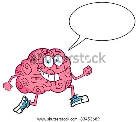 Running Brain With  Speech Bubble