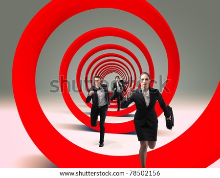 running businesspeople and red 3d spiral