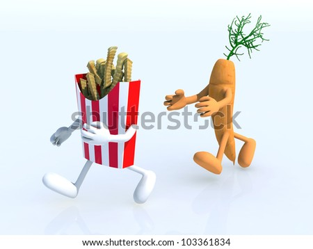 running competition between carrot and potato chips, 3d illustration - stock photo